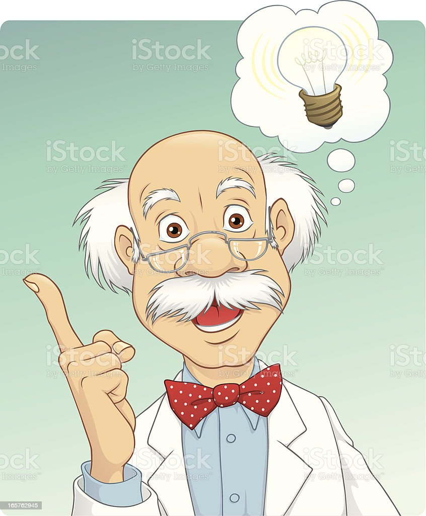 Scientist Got an Idea vector art illustration