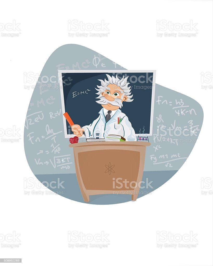 Scientist in a classroom vector art illustration