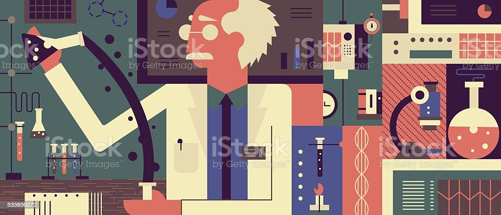 Scientist in laboratory background vector art illustration
