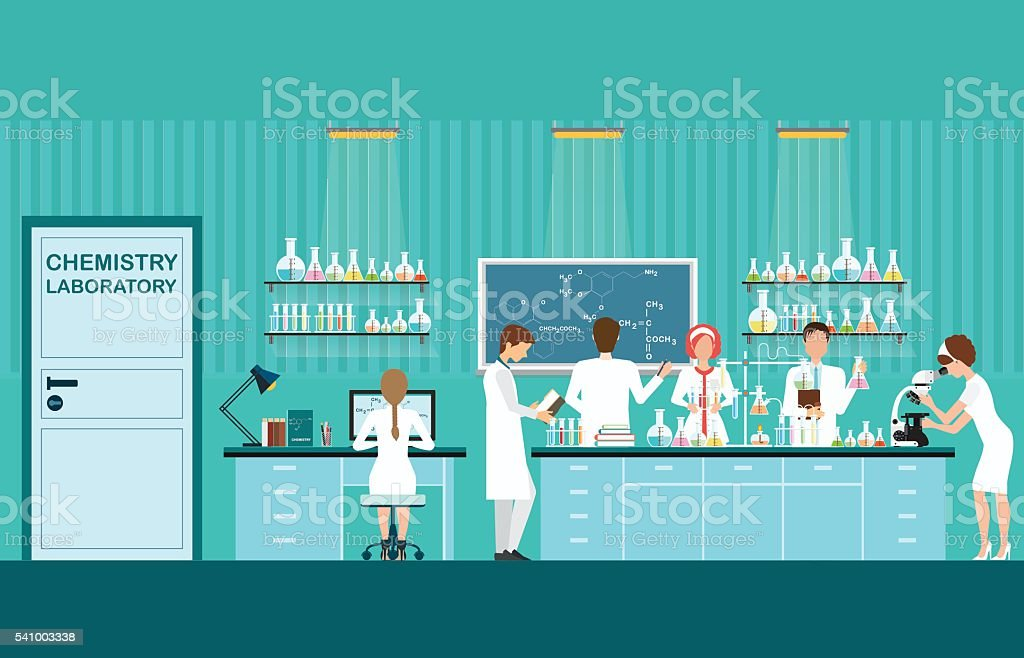 Scientist male and female making research . vector art illustration