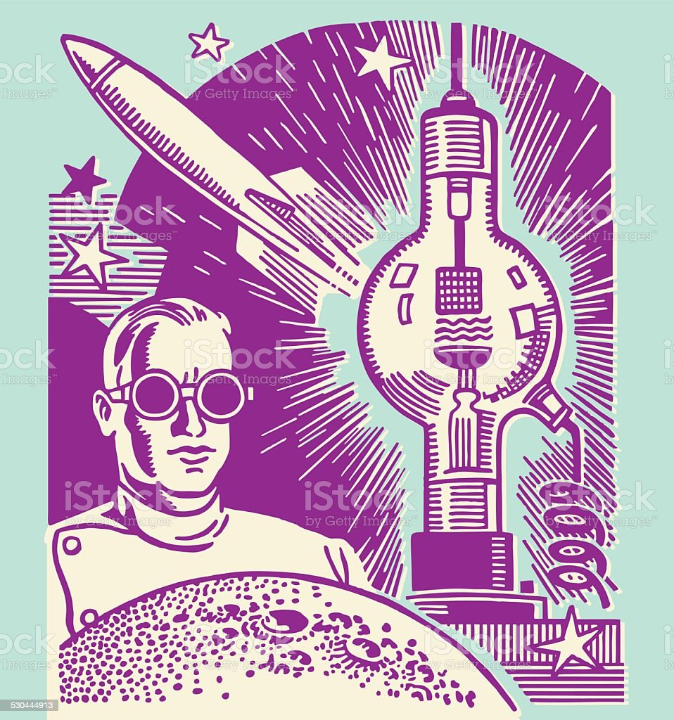 Scientist Wearing Goggles vector art illustration