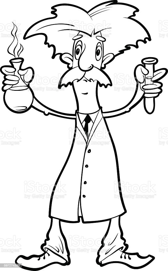 scientist with flasks vector art illustration