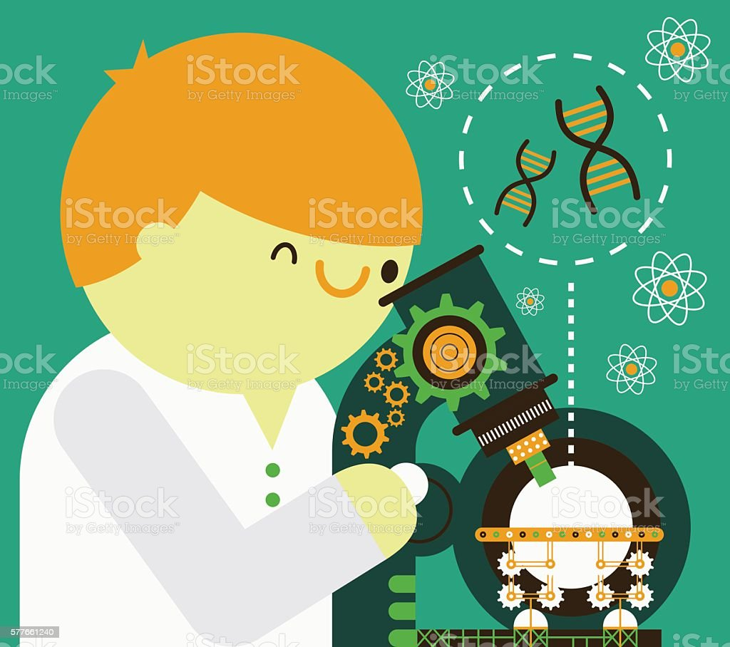 Scientist with Microscope vector art illustration