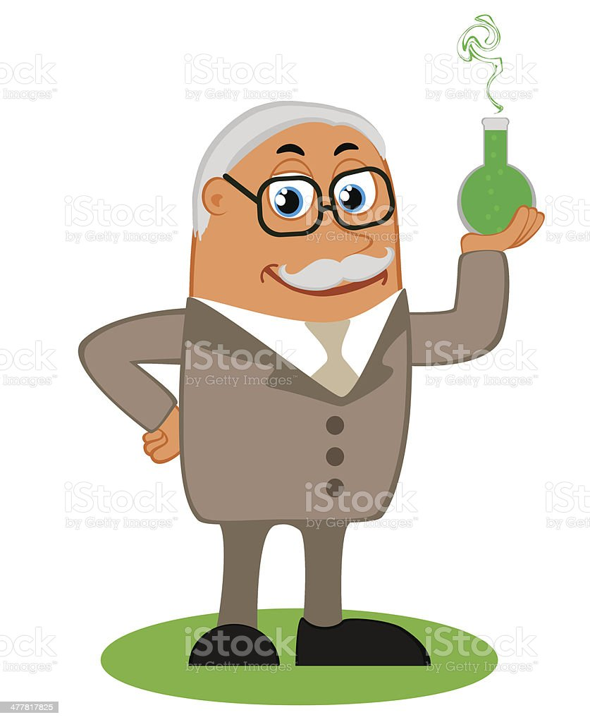 Scientist with the flask in his hand royalty-free stock vector art