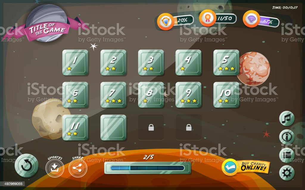 Scifi Game User Interface Design For Tablet vector art illustration