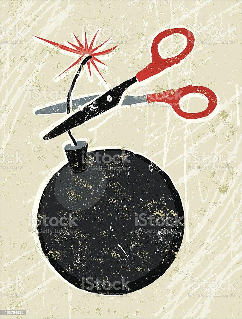 Scissors and Bomb vector art illustration