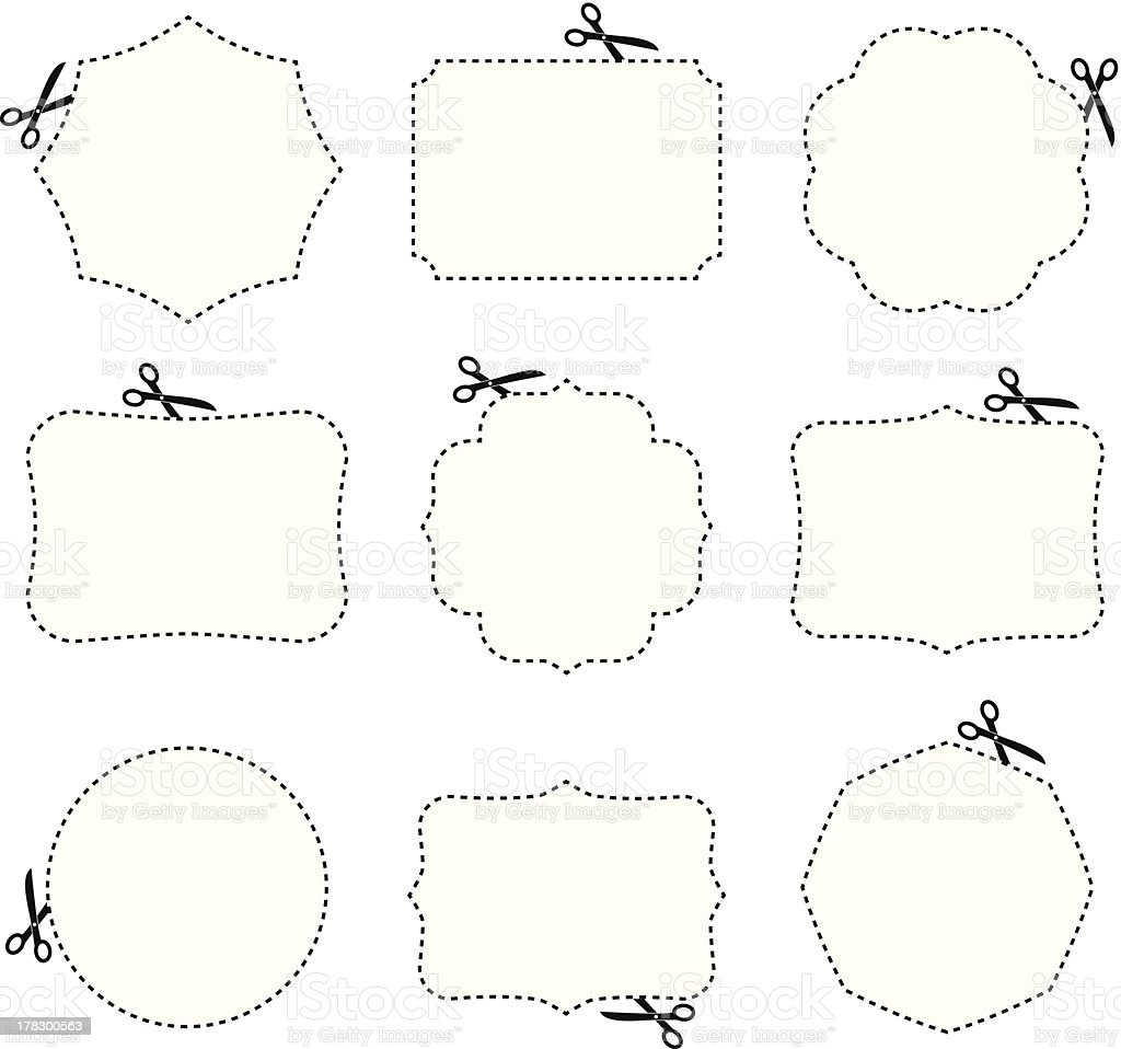 Scissors and frames royalty-free stock vector art