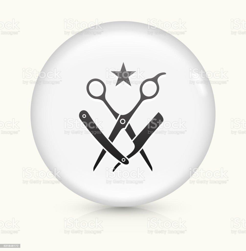 Scissors and Razor icon on white round vector button vector art illustration