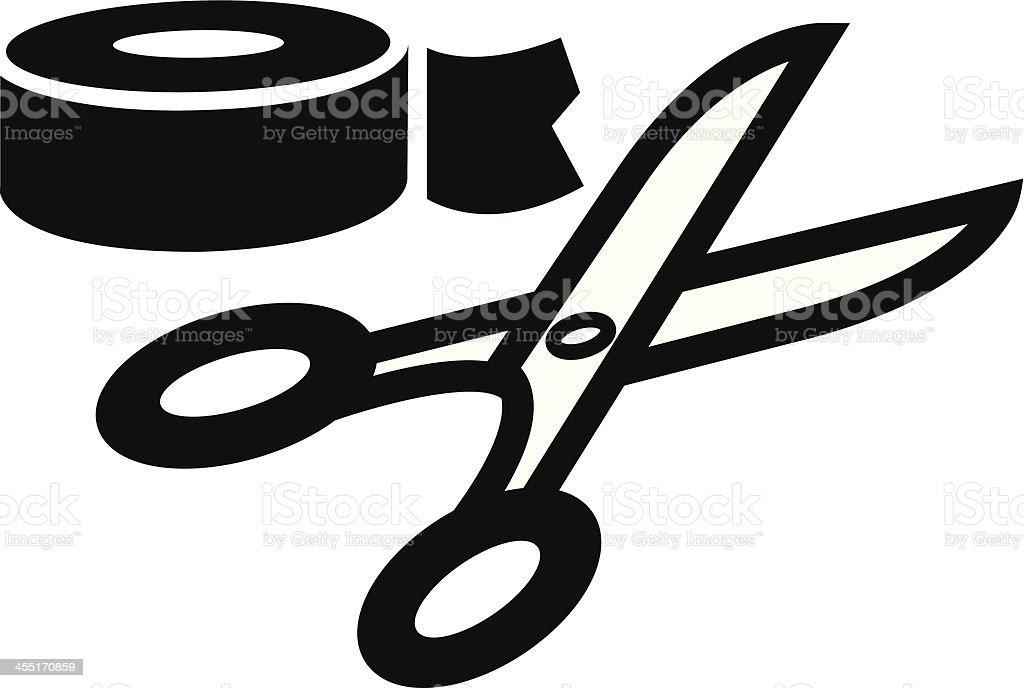 scissors and tape vector art illustration