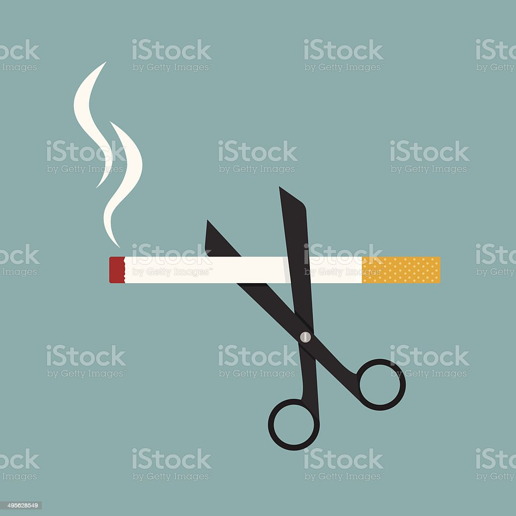scissors cut a cigarettes vector art illustration