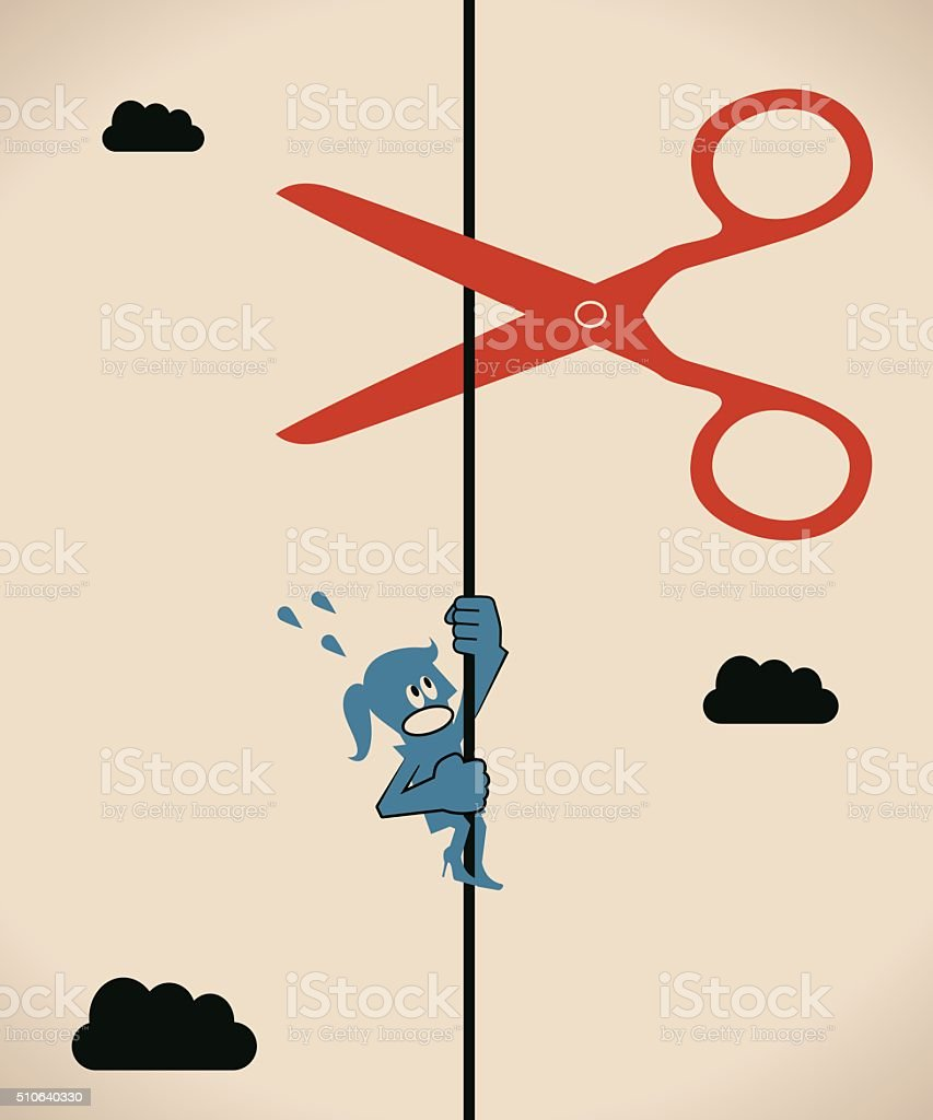 Scissors cutting a rope (string), businesswoman climbing and screaming vector art illustration