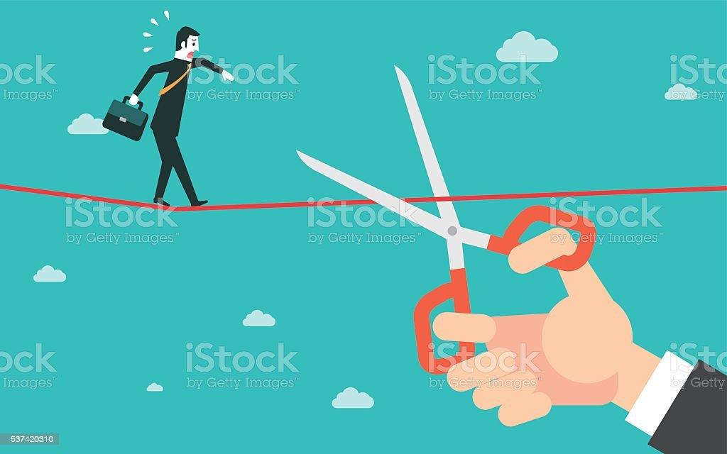 Scissors cutting a rope vector art illustration