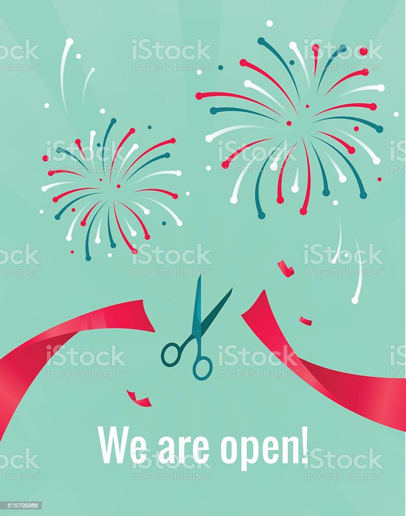 Scissors cutting red ribbon. We are open concept. vector art illustration