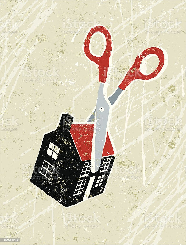 Scissors Cutting Through a Tiny House vector art illustration