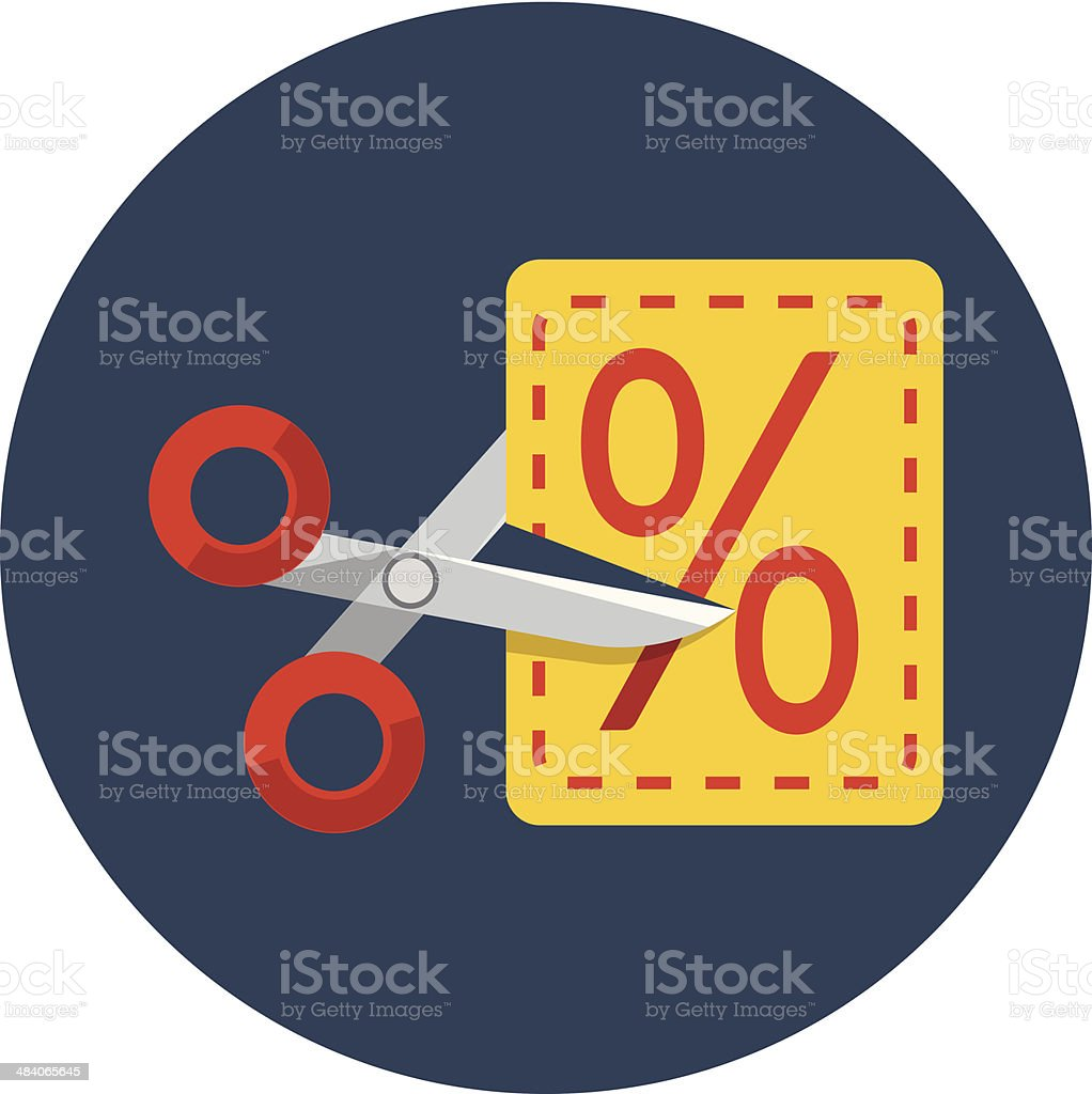 Scissors cutting through coupon dotted line vector art illustration