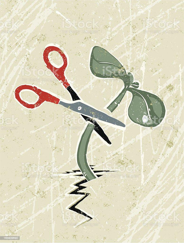 Scissors Cutting through Green Shoots. royalty-free stock vector art