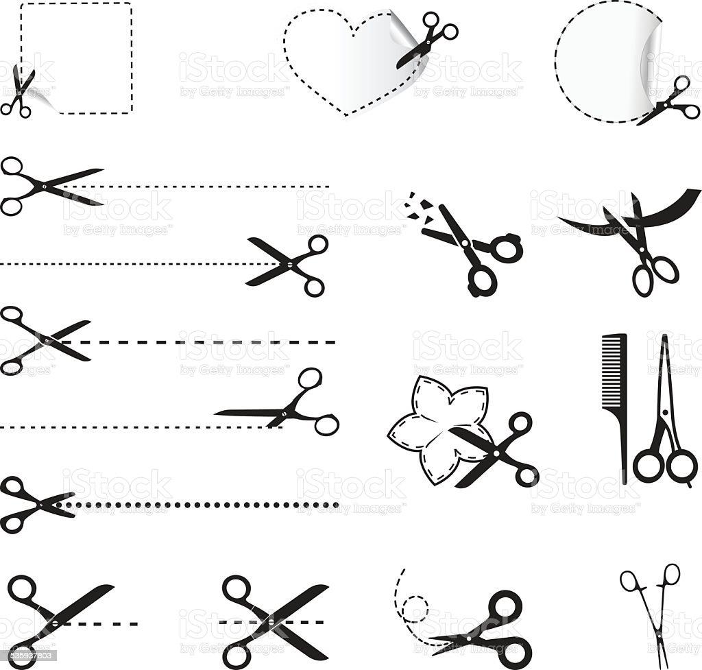 Scissors icons vector art illustration