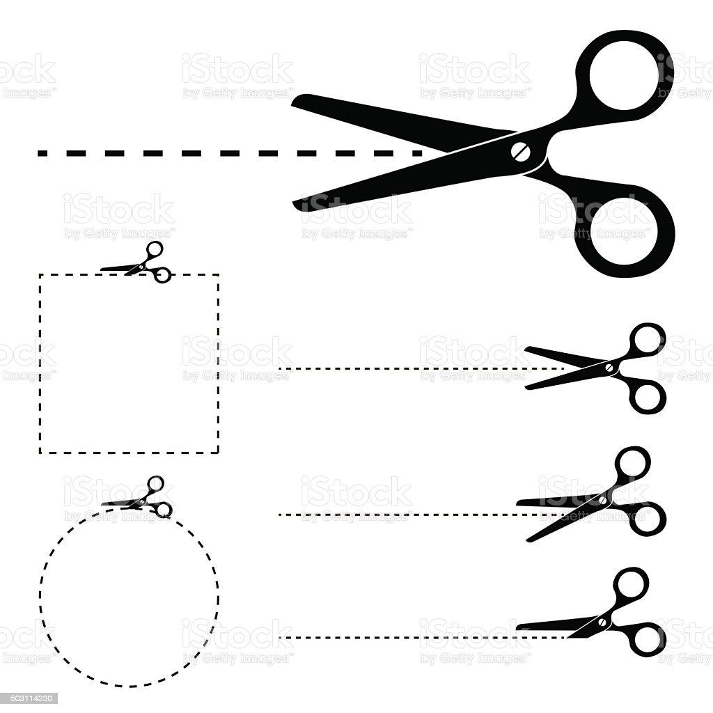Scissors silhouette and cut lines set vector art illustration