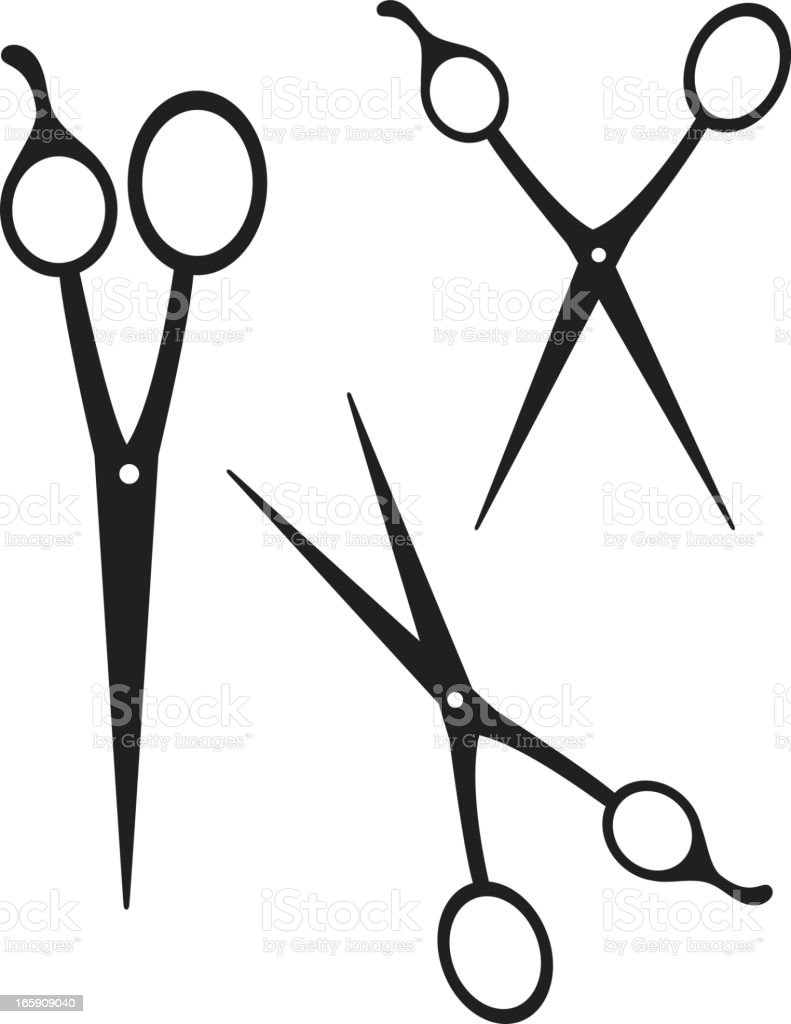 Scissors Silhouettes with adjustable blades isolated on white vector art illustration