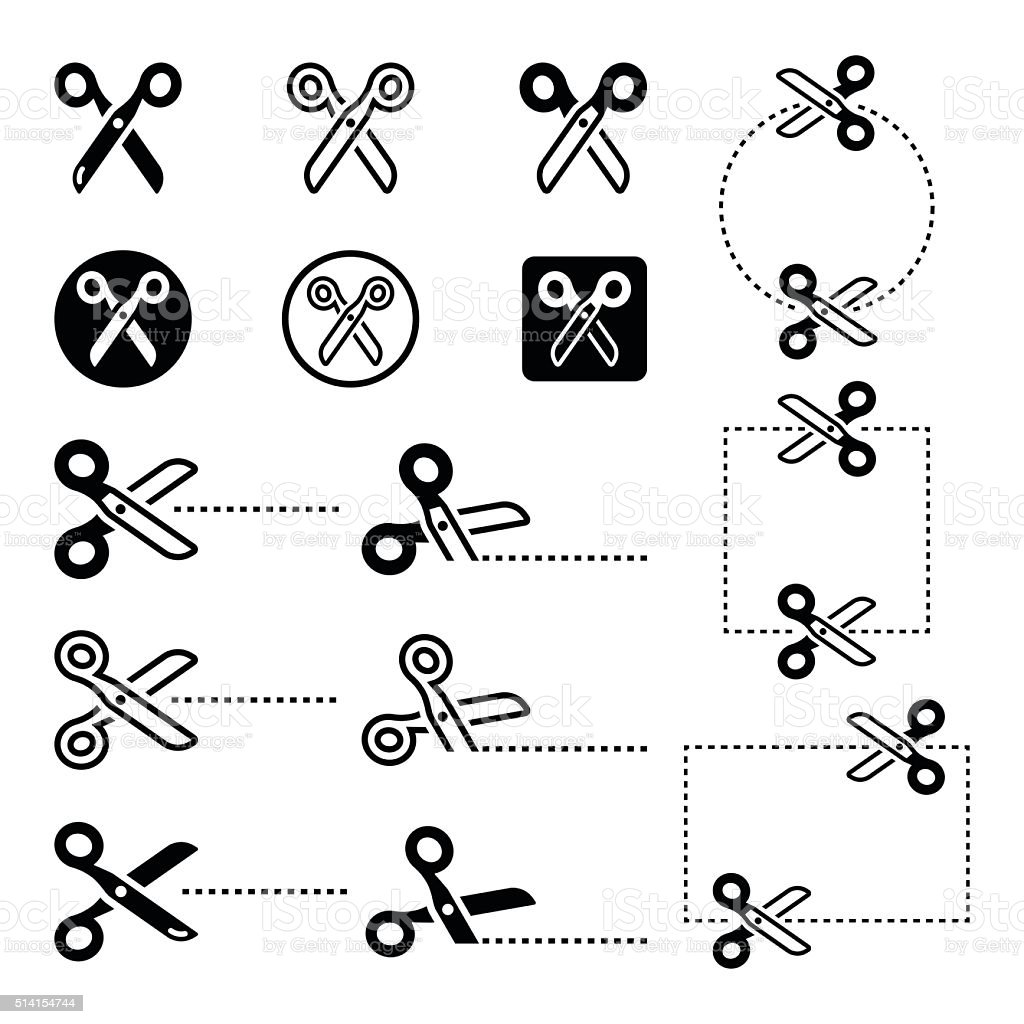 Scissors with cut lines icons set vector art illustration
