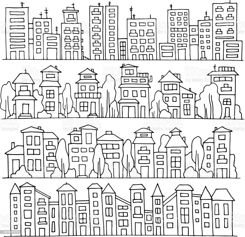 Scketch big city architecture vector art illustration