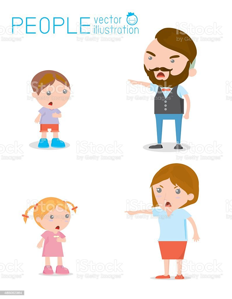 Scold children, father and mother scolding unhappy boy. Isolated vector art illustration