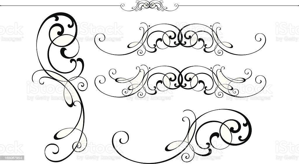 Scolls and Ruleline designs royalty-free stock vector art