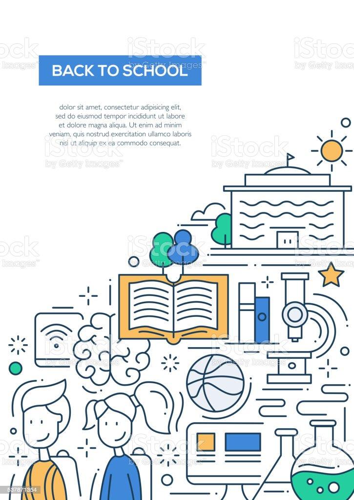 Scool, education line design composition vector art illustration