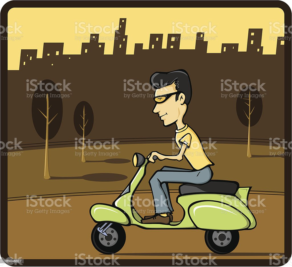 Scooter Guy royalty-free stock vector art