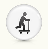 Scooter icon on white round vector button