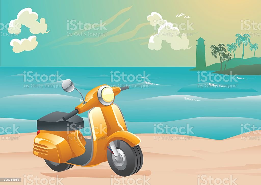 Scooter on Sunset Beach royalty-free stock vector art