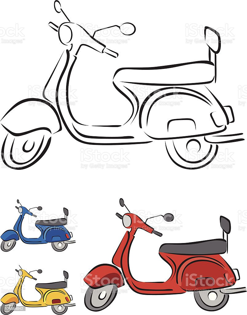 Scooter Vector Illustration in 3 different colors royalty-free stock vector art