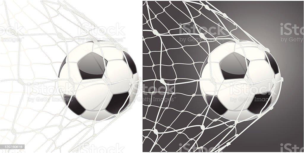 Score a goal, soccer ball vector art illustration