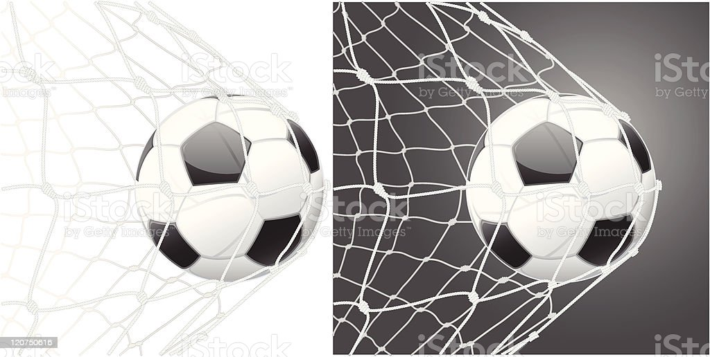Score a goal, soccer ball vector art illustration