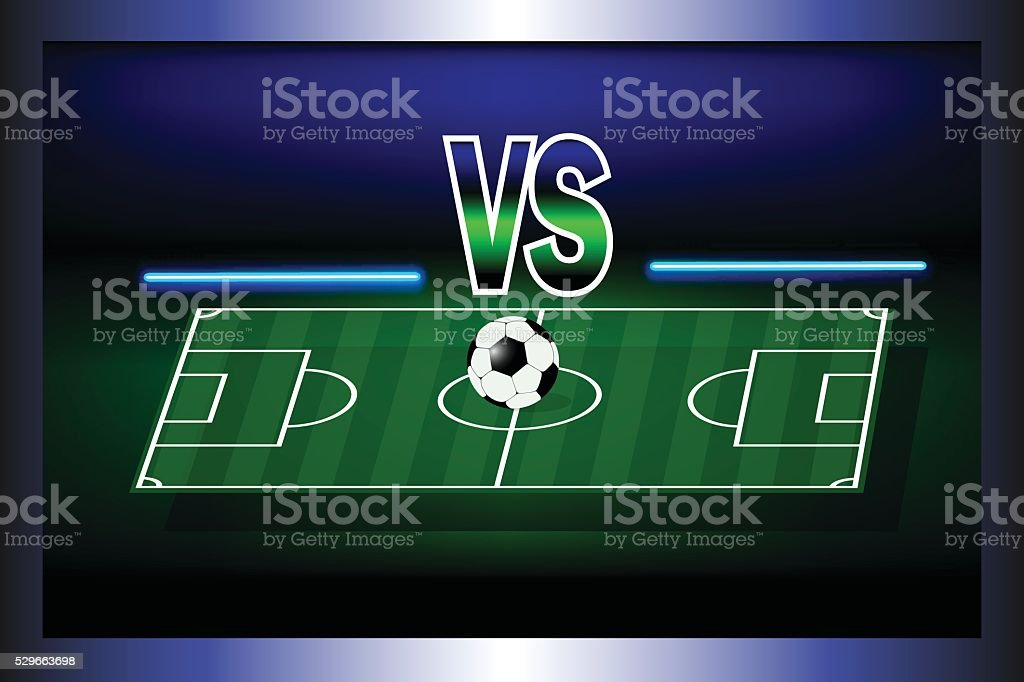 Score board of soccer match between two commands with ball in stadium...