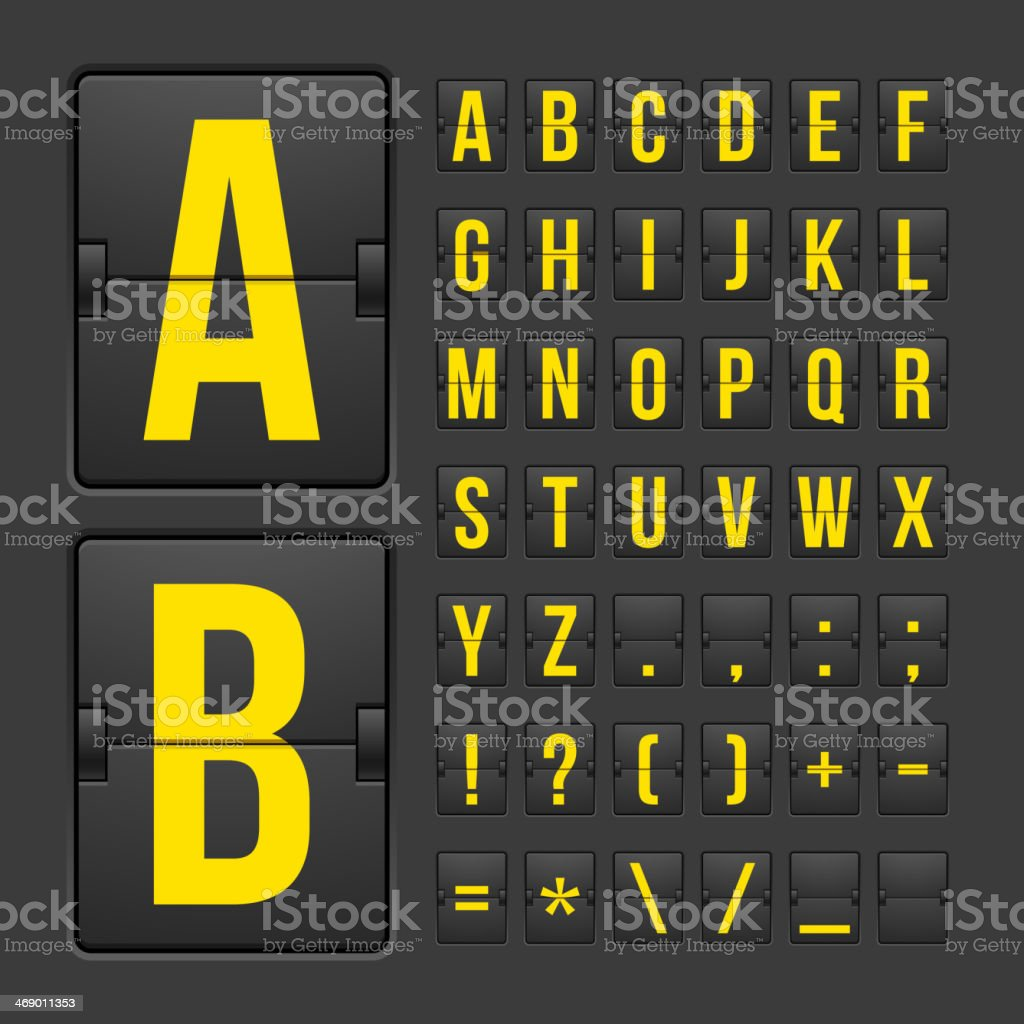 Scoreboard letters and symbols alphabet panel vector art illustration