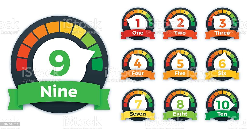 Scoring or Speed Gauges One through Ten vector art illustration