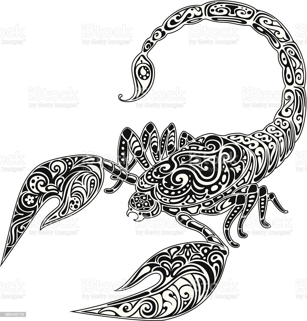 Scorpio, black & white royalty-free stock vector art