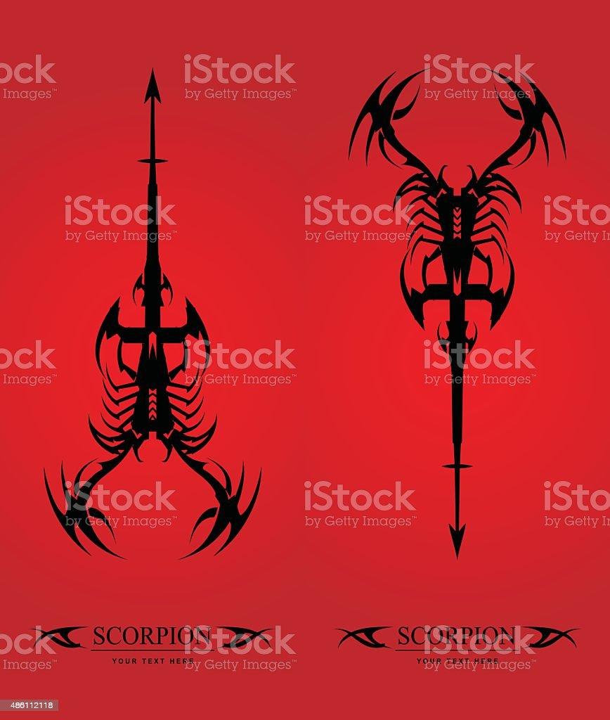 scorpion. big scorpion with the arrow tail. vector art illustration