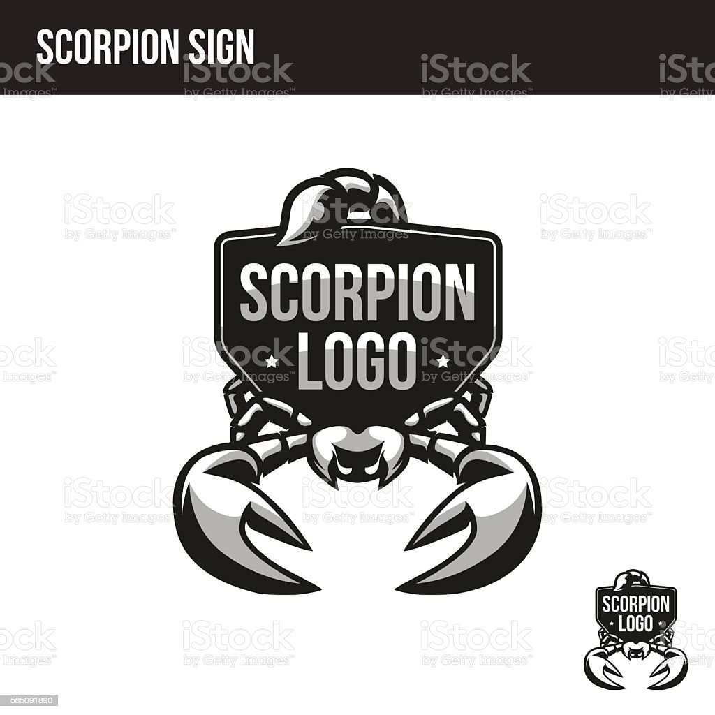 scorpion logo with place for your text vector art illustration