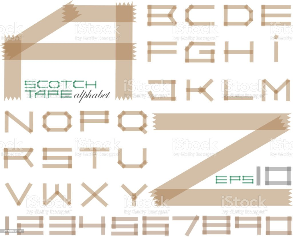 Scotch tape alphabet vector art illustration