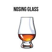 Scotch whiskey, rum, brandy nosing glass