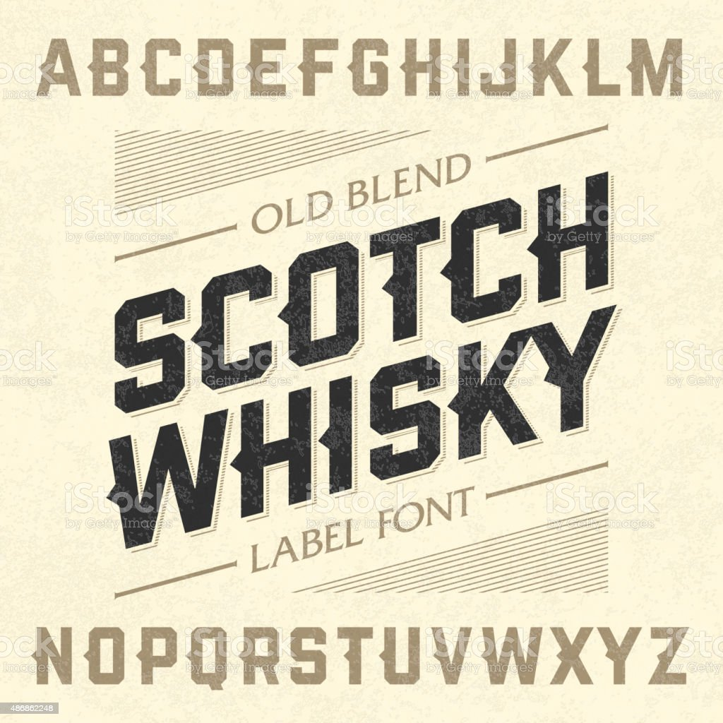 Scotch whiskey style label font with sample design vector art illustration