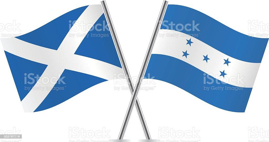 Scotland and Honduras flags. Vector. vector art illustration