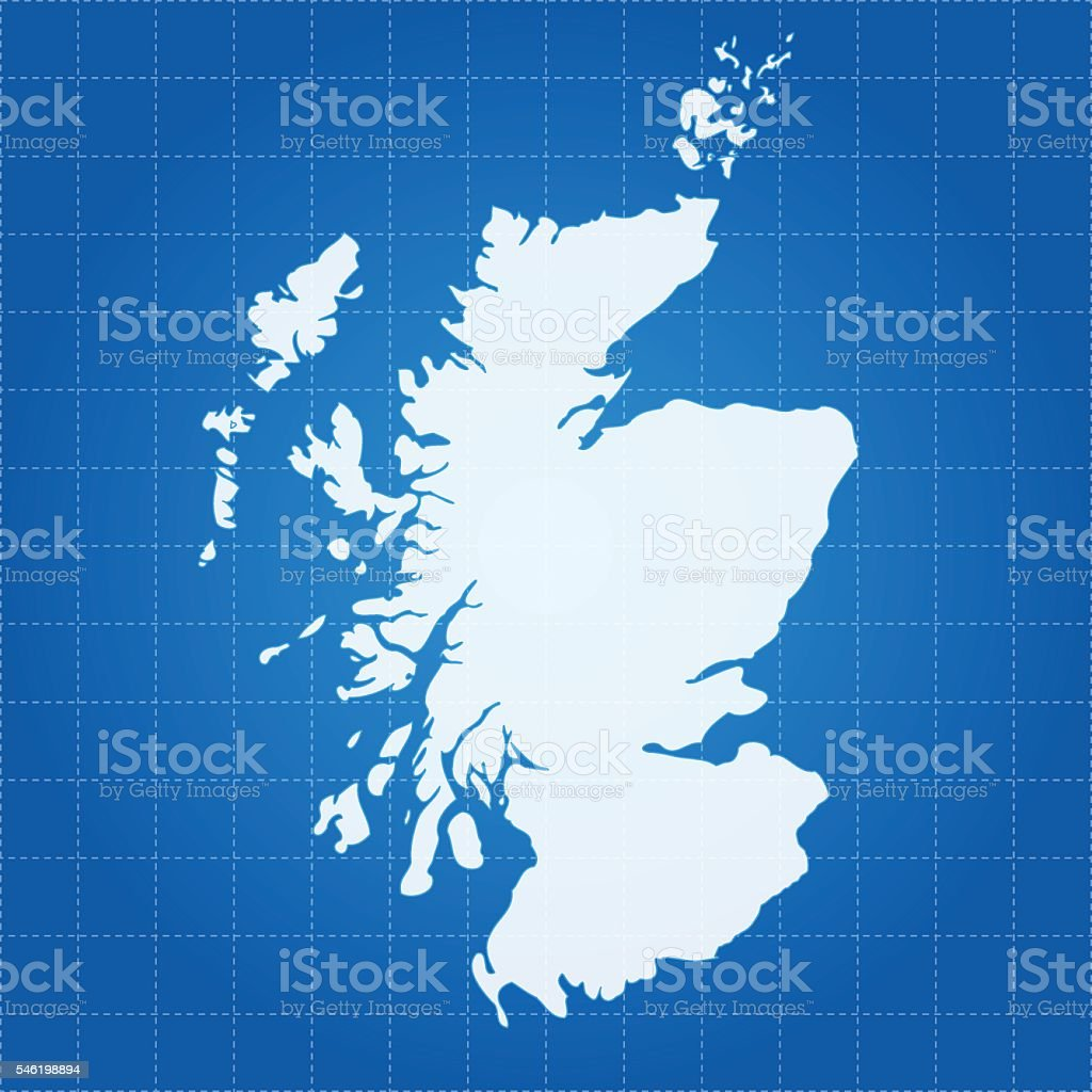 Scotland blue icy map on blue sea background vector art illustration