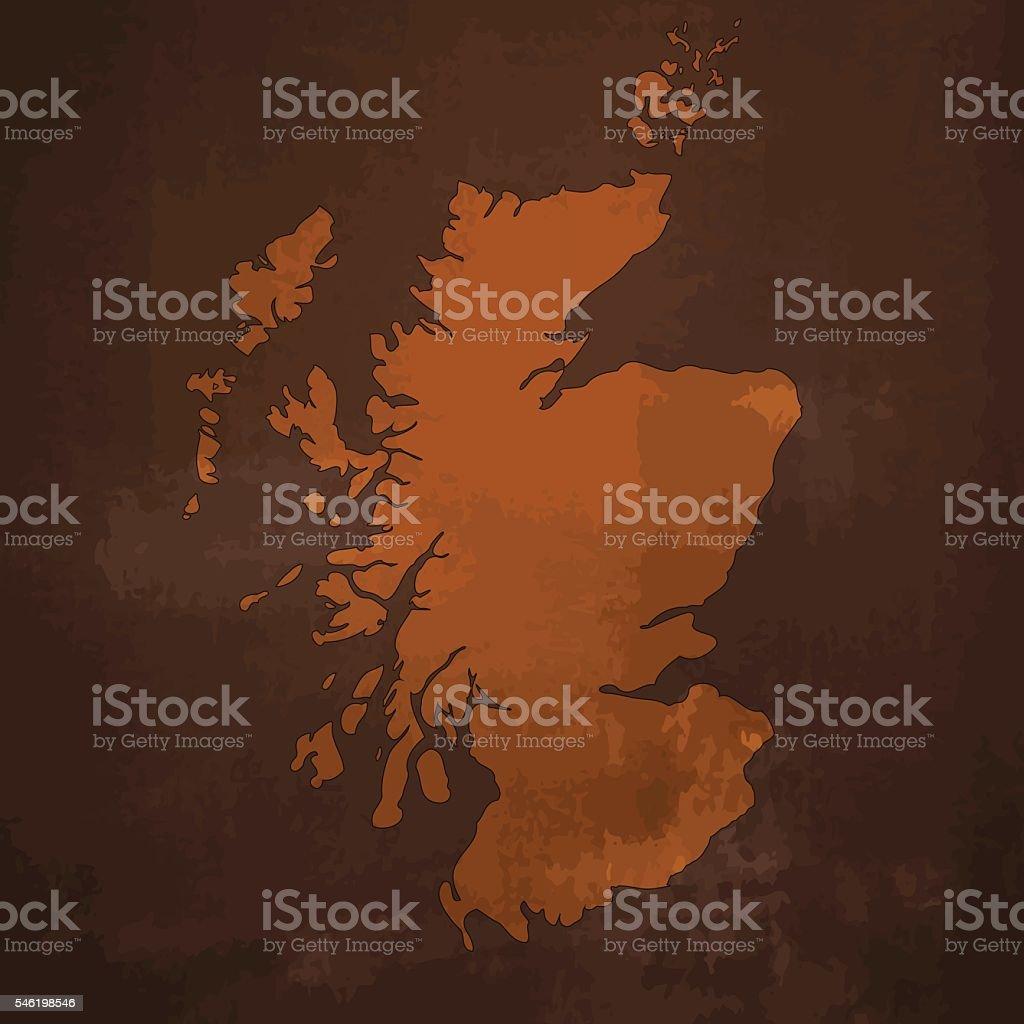 Scotland brown map on rusty grunge dark background vector art illustration