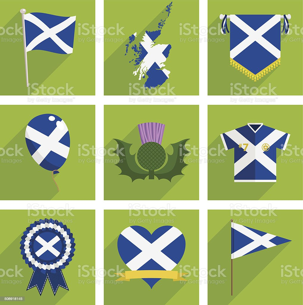 scotland icons vector art illustration