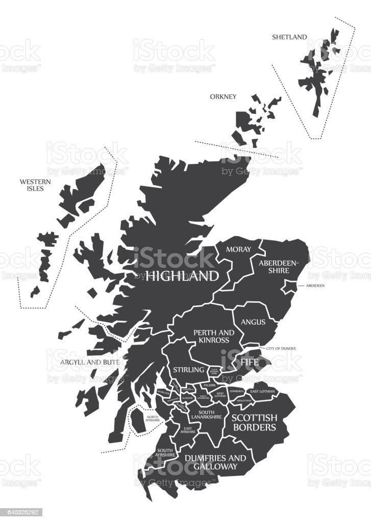 Scotland Map labelled black vector art illustration