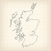 Scotland outline map on beige grid retro background