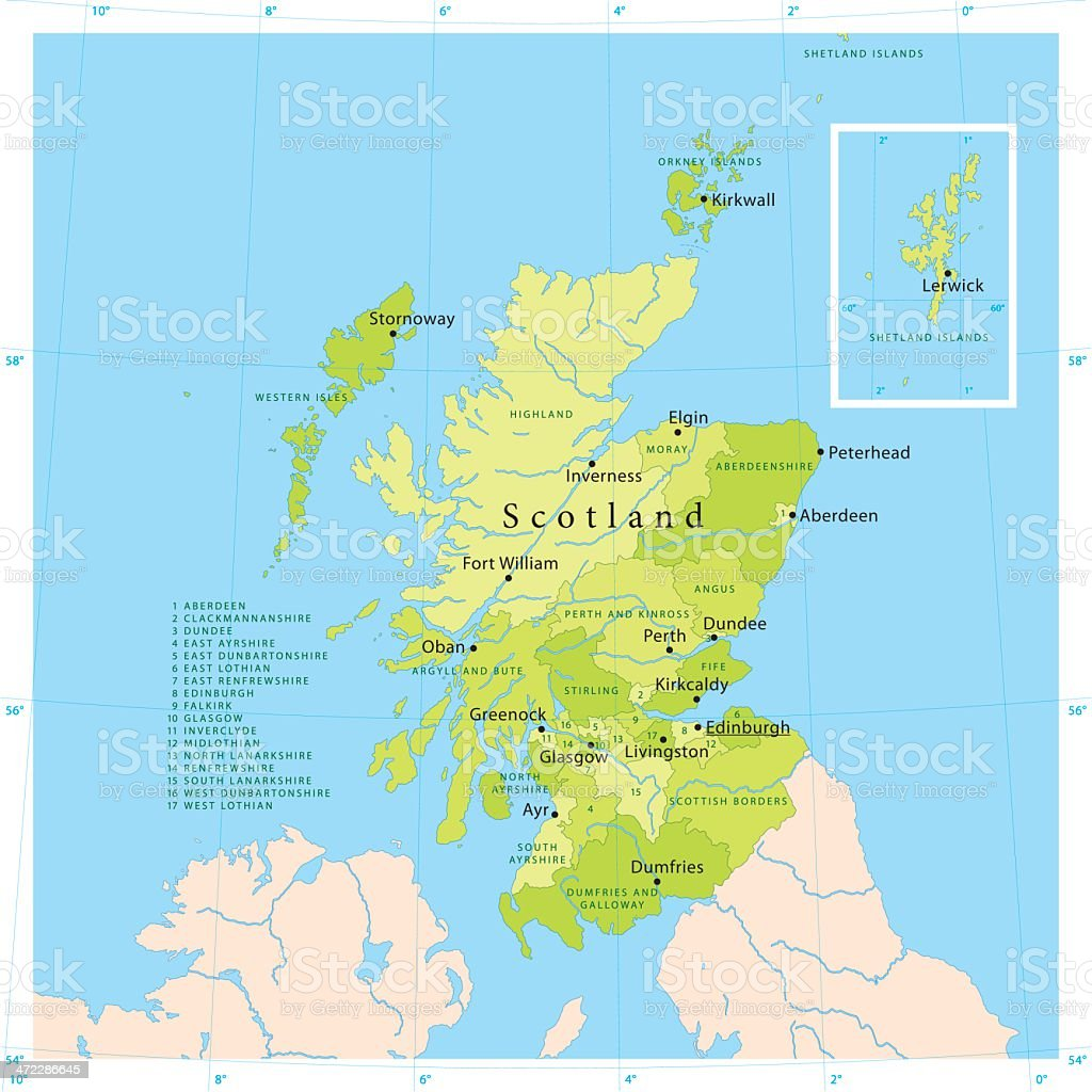 Scotland Vector Map vector art illustration